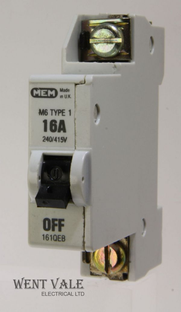 MEM Memera 21 - 161QEB - 16 amp Type 1 Single Pole MCB Used